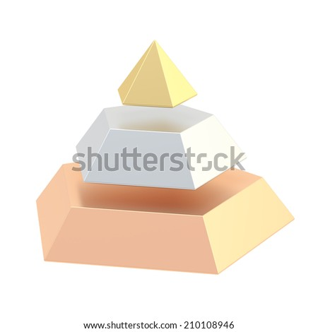 Pyramid divided into three, golden, silver and bronze segment layers, isolated over the white background - stock photo