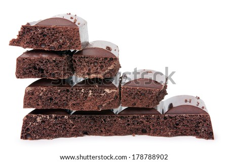 pyramid from chocolate on a white background isolated