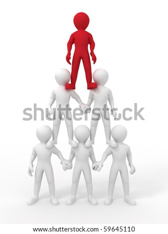 Pyramid from people. Leadership. 3d - stock photo
