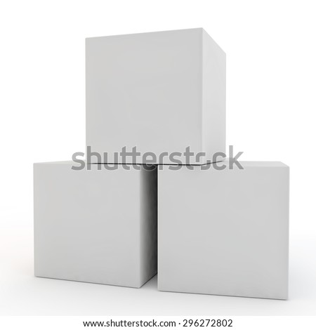 pyramid from white cubes with empty sides - stock photo