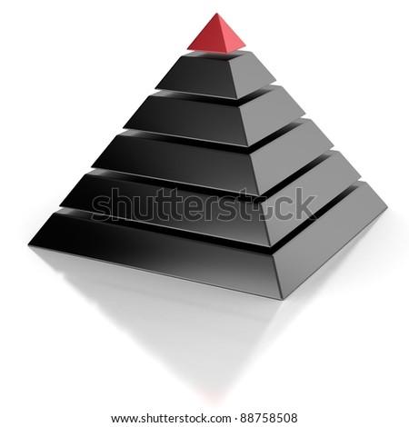 pyramid, hierarchy abstract 3d concept - stock photo