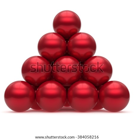 Pyramid hierarchy sphere ball red corporation top order leadership element teamwork stable group business concept shiny sparkling. 3d render isolated - stock photo