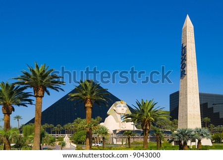 Pyramid Hotel and Sphinx in Las Vegas - stock photo