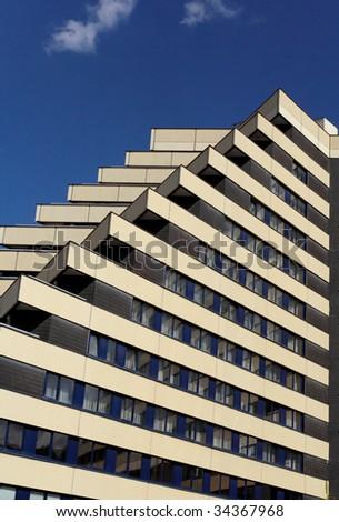 Pyramid house in Prague - stock photo