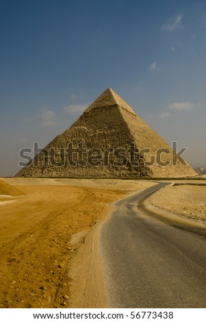 Pyramid in Giza, the only one of the Seven Wonders of the Ancient World - stock photo