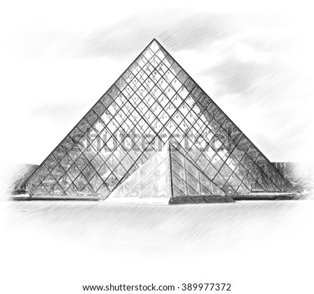Pyramid. Louvre museum. Paris.  - stock photo