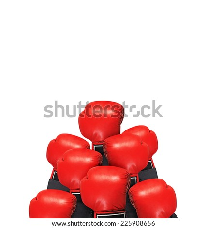 Pyramid made of boxing gloves. Isolated on white background.  - stock photo