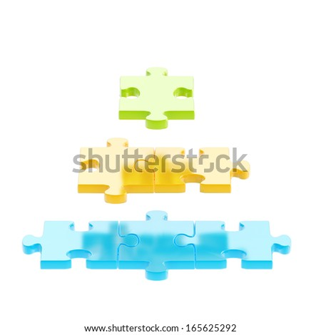 Pyramid made of colorful plastic puzzle pieces isolated over white background - stock photo