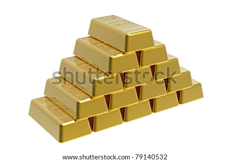 Pyramid made of gold bullion 3d render - stock photo