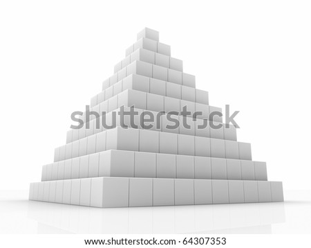 Pyramid made of small cubes, 3d abstract render - stock photo