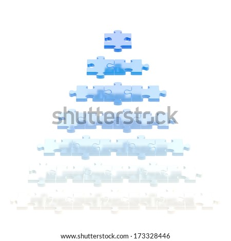 Pyramid made of white and blue puzzle pieces isolated over white background - stock photo