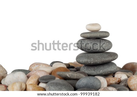 Pyramid marine stones isolated on white background