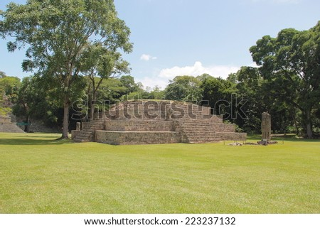 """Pyramid named """"Structure 4"""" at the ancient Mayan archaelogical site of Copan, in Honduras, one of the most important cities of mayan civilization. UNESCO World Heritage Site. - stock photo"""