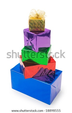 pyramid of  colorful gifts - stock photo