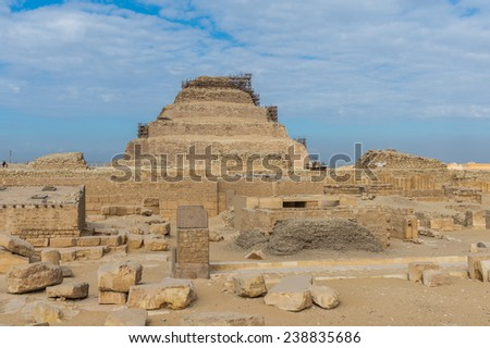 Pyramid of Djoser (Stepped pyramid), an archeological remain in the Saqqara necropolis, Egypt. UNESCO World Heritage - stock photo