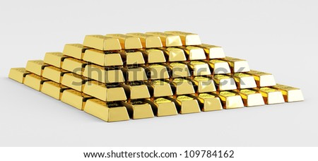 Pyramid of gold bars on a white background - stock photo