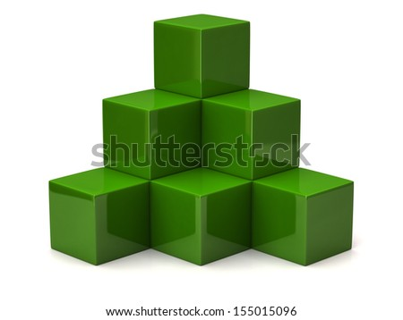 Pyramid of green cubes - stock photo