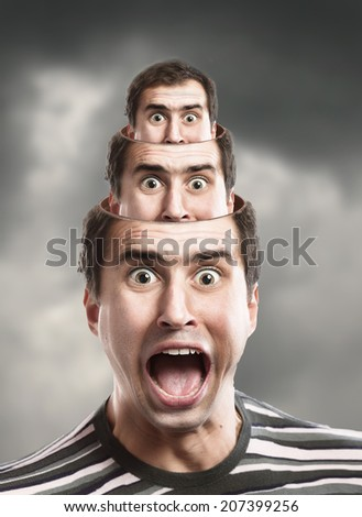 Pyramid of head. Inner voice concept. Russian doll Concept.  - stock photo