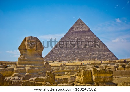 Pyramid of Khafre and Great Sphinx in Giza, Egypt - stock photo