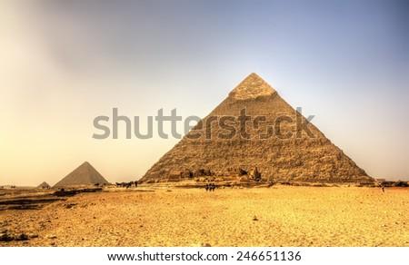 Pyramid of Khafre (Pyramid of Chephren) in Giza - Egypt - stock photo