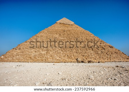 Pyramid of Khafre (Pyramid of Chephren), one of the Ancient Egyptian Pyramids of Giza and the tomb of the Fourth-Dynasty pharaoh Khafre