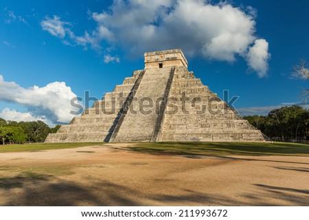 Pyramid of Kukulkan Chichen Itza, Mexico - stock photo
