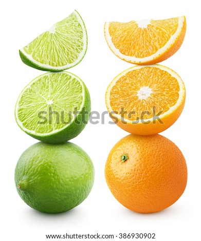 Pyramid of orange and lime citrus fruit isolated on white with clipping path - stock photo