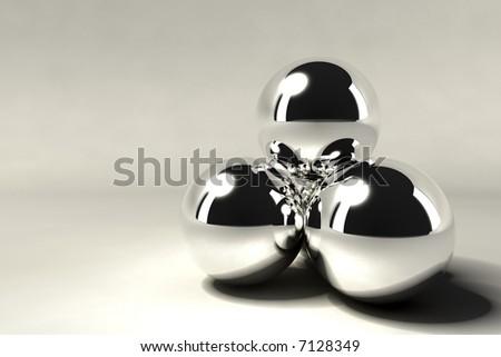 pyramid of silver chrome balls - stock photo