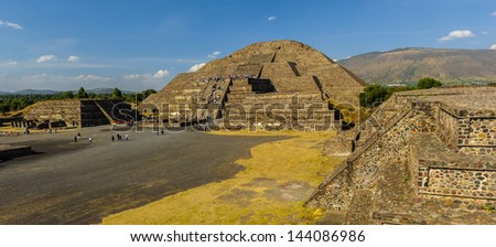 Pyramid of the Moon is the second largest pyramid in Teotihuacan, Mexico - stock photo