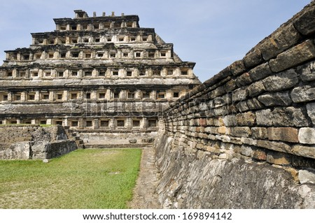 Pyramid of the Niches, El Tajin (Mexico) - stock photo