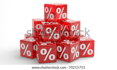 Pyramid of the red cubes with percents. 3d illustration.