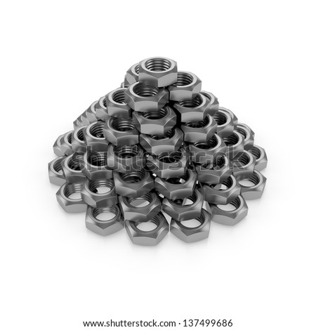 Pyramid of the Screw nuts - stock photo