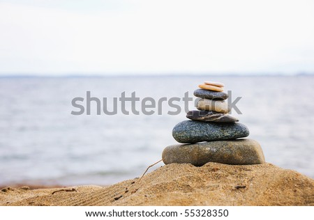Pyramid of the small pebbles on the beach