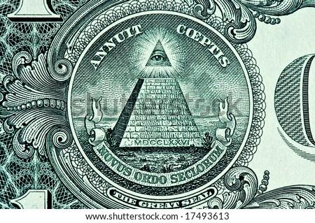 Pyramid on One Dollar Bill macro - stock photo