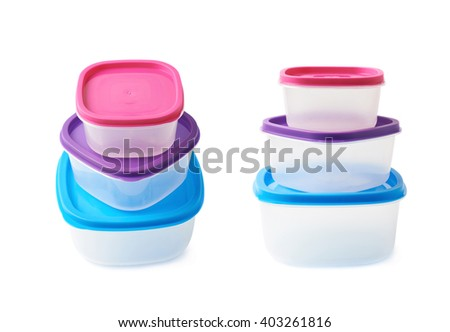 Pyramid pile of colorful plastic food containers, composition isolated over the white background, set collection of two different foreshortenings - stock photo