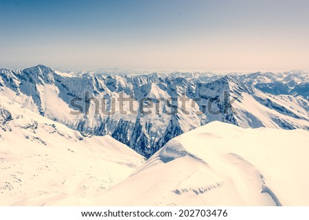 Pyramid shaped mountain top, Ankogel, Austria - stock photo