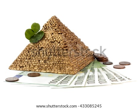 Pyramid Clover Standing On Euro Money Stock Photo Royalty Free