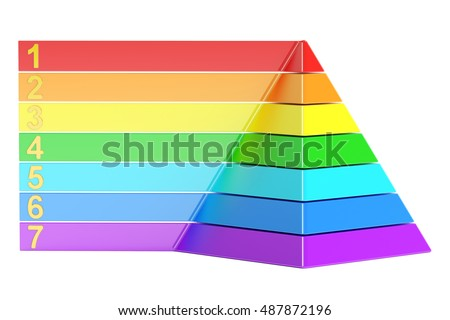 pyramid with color levels, pyramid chart. 3d rendering isolated on white background