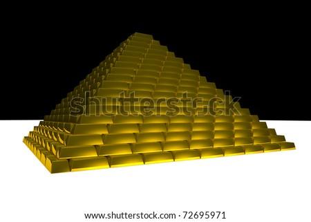 Pyramid with gold bricks - stock photo