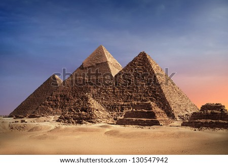 Pyramides of Gizeh - Cairo, Egypt - stock photo