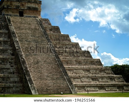 Pyramids at the Mayan Ruins of Chichen Itza in Yucatan, Mexico  - stock photo