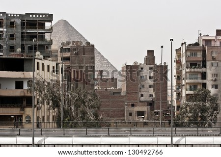 pyramids in distance - stock photo