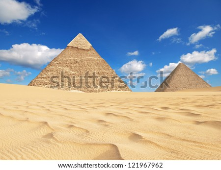 pyramids in giza - stock photo
