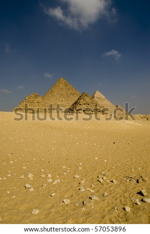 Pyramids in Giza, the only one of the Seven Wonders of the Ancient World - stock photo