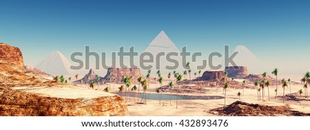 Pyramids of Giza Computer generated 3D illustration