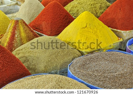Pyramids of spices at the souk in Taroudant , Morocco, Africa - stock photo