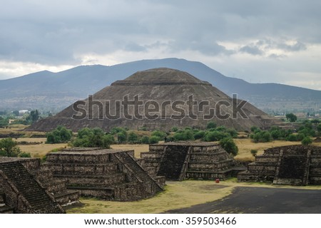 Pyramids of the Sun and  Avenue of the Dead, Teotihuacan ancient historic cultural city, old ruins of Aztec civilization, Mexico, North America, world travel - stock photo