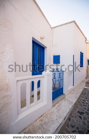 Pyrgos, Kos - Greece. Classic colorful doors of city homes. - stock photo