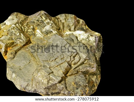 Pyrite on a black background - stock photo