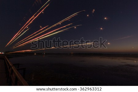 pyrotechnics , candle fireworks at night - stock photo